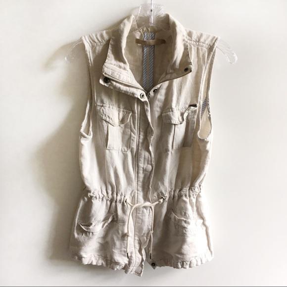 Max Jeans Jackets & Blazers - Max Jeans utility vest ivory pockets drawstring